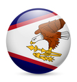 Round glossy icon of American Samoa vector image
