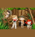 scene with group scouts exploring cave vector image vector image