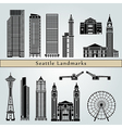seattle landmarks and monuments vector image vector image