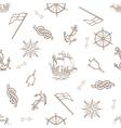 set nautical design elements seamless pattern vector image