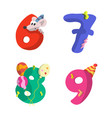 set number birthday flat design with different vector image vector image
