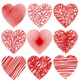 set of abstract stylized hearts isolated on white vector image vector image