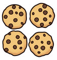 set of chocolate chip whole cookies vector image vector image