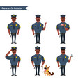 set of colorful isolated policeman at work vector image vector image