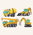 set of toy construction equipment in yellow vector image