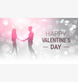 silhouette couple holding hands over glittering vector image vector image