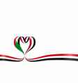 sudanese flag heart-shaped ribbon vector image