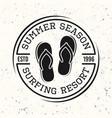 surfing black vintage round emblem with flip flops vector image