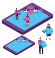 tablet computer smartphone in form puzzle vector image vector image