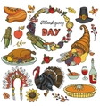 Thanksgiving day doodle iconswreathColorful set vector image vector image