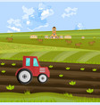 tractor is processing the earth at the farm vector image vector image