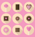 various sweets flat icon set in pink and brown vector image