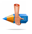very realistic pencil hand icon vector image vector image
