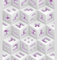 white purple cubes isometric seamless pattern vector image
