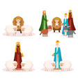 wise kings and baby jesus manger characters vector image vector image
