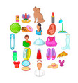 womanish icons set cartoon style vector image