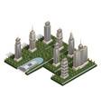 flat isometric landscape city building skyscraper vector image