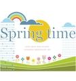 Spring lettering on spring landscape vector image