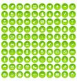 100 mill icons set green circle vector image vector image
