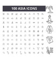 asia line icons signs set outline vector image