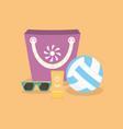 ball suntan creamsunglasses and bag on a sand vector image vector image