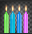 burning 3d realistic dinner candles flame vector image