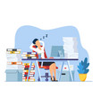 businesswoman is sleeping at his workplace vector image vector image