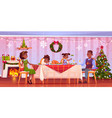 christmas dinner happy family sit at festive table vector image vector image