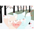 cute foxy fox couple in spring forest background vector image