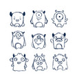 cute monsters doodles vector image vector image