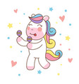 cute unicorn horse playing maracas good for print vector image vector image