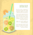detox diet poster mug with refreshing drink vector image vector image