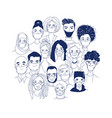 diverse crowd group people wearing medical masks vector image
