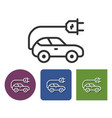 electric car line icon in different variants vector image vector image