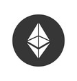 ethereum coin sign crypto currency icon vector image