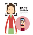 face recognition hand holding smart phone scanning vector image vector image