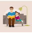 Father reading a book to her daughter vector image vector image