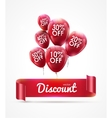 Flying colored red balloons with ribbon and vector image vector image