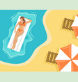 girl in a swimsuit floating on an air mattress vector image vector image