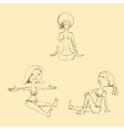 Hand draw doll set vector image vector image