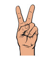 hand with two fingers up vector image vector image