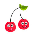happy cherry emoticon vector image vector image