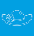 hat with flower icon outline style vector image vector image