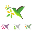 Hummingbird and flower icons vector image vector image