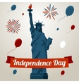 Independence day card concept with liberty statue vector image