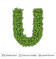 letter u symbol of green leaves vector image