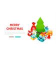 merry christmas tree banner vector image vector image