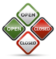 OPEN - CLOSED color board with shadow on white vector image vector image