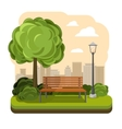 Park with bench Streetlight and tree vector image