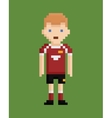 pixel art style shows soccer player in red and vector image vector image